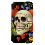 Romantic Skull Skeleton with Hearts and Flowers Incipio Watson™ iPhone 6 Wallet Case