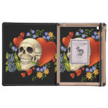 Romantic Skull Skeleton with Hearts and Flowers iPad Cover