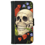 Romantic Skull Skeleton with Hearts and Flowers iPhone 6 Wallet Case