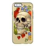 Romantic Skull Skeleton with Hearts and Flowers Incipio Feather® Shine iPhone 6 Case