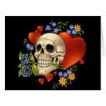 Romantic Skull Skeleton with Hearts and Flowers Large Greeting Card