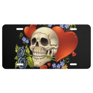 Romantic Skull Skeleton with Hearts and Flowers License Plate