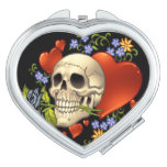 Romantic Skull Skeleton with Hearts and Flowers Makeup Mirrors