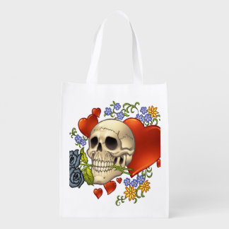 Romantic Skull Skeleton with Hearts and Flowers Market Tote