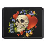 Romantic Skull Skeleton with Hearts and Flowers Trailer Hitch Covers