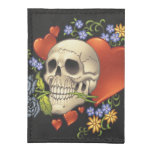 Romantic Skull Skeleton with Hearts and Flowers Tyvek® Card Case Wallet