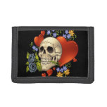 Romantic Skull Skeleton with Hearts and Flowers Trifold Wallet