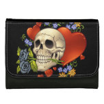 Romantic Skull Skeleton with Hearts and Flowers Wallet