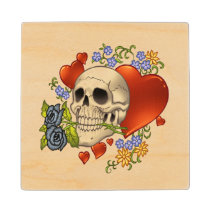 skull, skulls, skeleton, goth, gothic, roses, hearts, flowers, death, al rio, illustration, [[missing key: type_mitercraft_woodencoaste]] com design gráfico personalizado