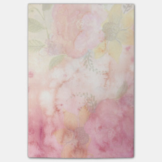 Romantic Soft Pink Flowers Post-it® Notes 4 x 6