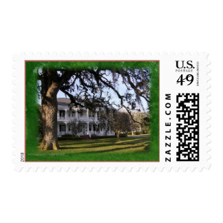 Romantic southern mansion postage stamp