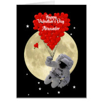 Romantic spaceman astronaut Valentines day Card