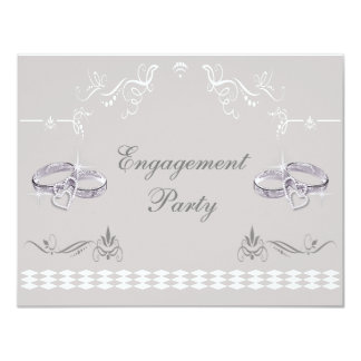 Romantic Sparkly Wedding Bands & Hearts Engagement 4.25x5.5 Paper Invitation Card