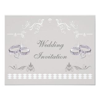 Romantic Sparkly Wedding Bands & Hearts Wedding 4.25x5.5 Paper Invitation Card