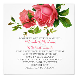Romantic Spring Blossom Pink Roses Wedding Invite