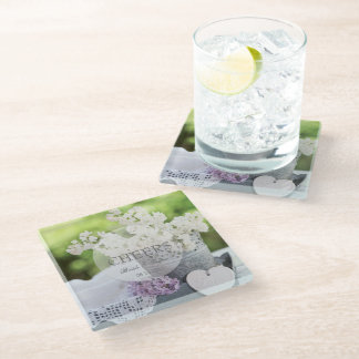 Romantic Spring Flower Floral Lilac Wedding Glass Coaster