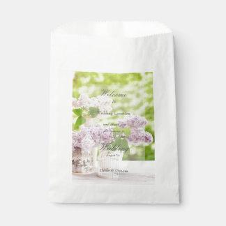 Romantic Spring Flower Floral White Lilac Wedding Favor Bag