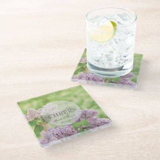 Romantic Spring Flower Floral White Lilac Wedding Glass Coaster