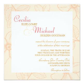 Romantic spring garden floral sorbet coral wedding invite