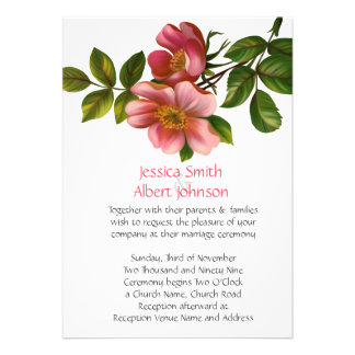 Romantic Spring Pink Floral Wedding Invite