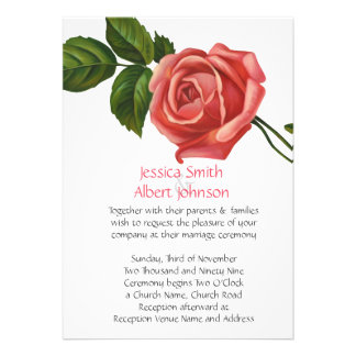 Romantic Spring Pink Rose Wedding Invite