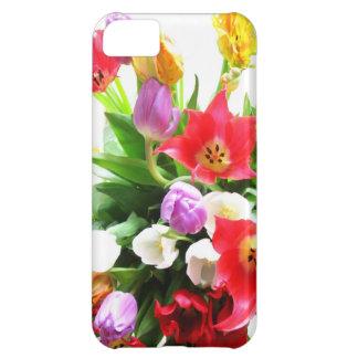 Romantic Spring Tulip Flowers Pattern Case For iPhone 5C