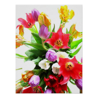 Romantic Spring Tulip Flowers Poster