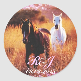 romantic star dust horses western country wedding classic round sticker