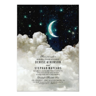 Romantic Stars and Moon Rehearsal Dinner Card