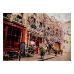 Romantic street and restaurant in Paris, France Poster