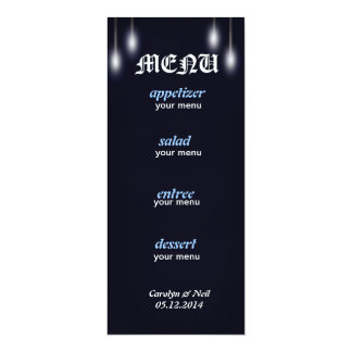 Romantic Street Lights Navy Blue Menu Card Personalized Announcements