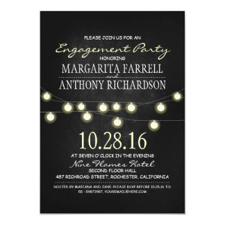 Romantic string lights chalkboard engagement party card
