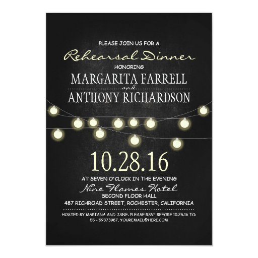 Romantic string lights chalkboard rehearsal dinner 5x7 Paper Invitation Card