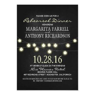 Romantic string lights chalkboard rehearsal dinner card