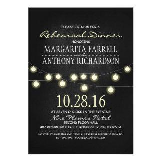 Romantic string lights chalkboard rehearsal dinner custom announcement