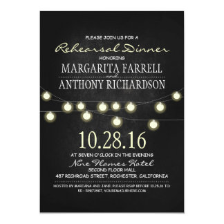 "Romantic string lights chalkboard rehearsal dinner 5"" x 7"" invitation card"