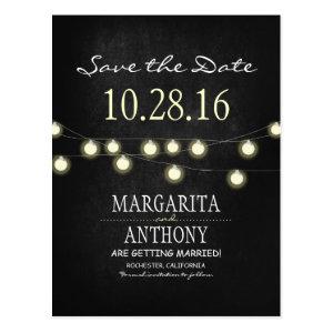 romantic string lights chalkboard save the date postcard