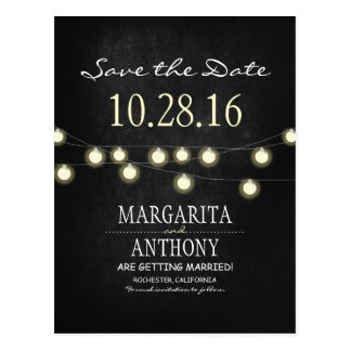 romantic string lights chalkboard save the date postcard