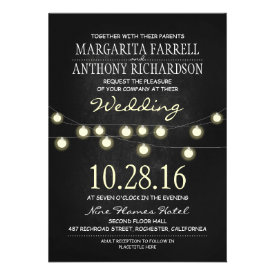 Romantic string lights chalkboard wedding invites