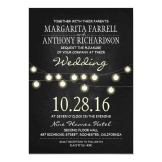 Romantic string lights chalkboard wedding invites