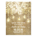 romantic string lights mason jars save the date postcards
