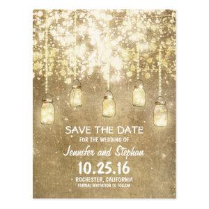 romantic string lights mason jars save the date postcard