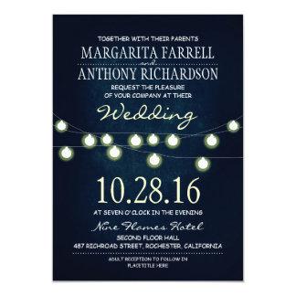 Romantic string lights navy wedding invites