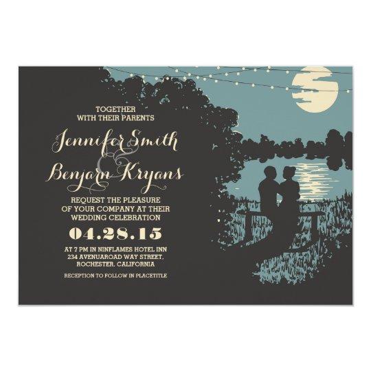 Outdoor Wedding Invitations: Romantic String Lights Outdoor Wedding Invitation