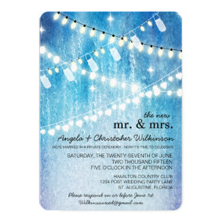 Romantic String Lights Post Wedding Invitation