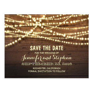 Romantic string lights rustic wood save the date postcard