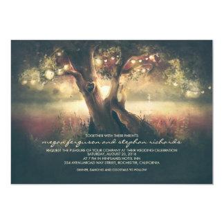 Romantic String Lights Tree - Carved Heart Wedding Invitation