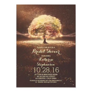 romantic string lights tree fall bridal shower 5x7 paper invitation card