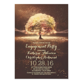 romantic string lights tree fall engagement party card
