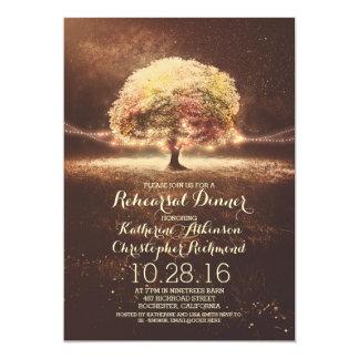"""romantic string lights tree fall rehearsal dinner 5"""" x 7"""" invitation card"""